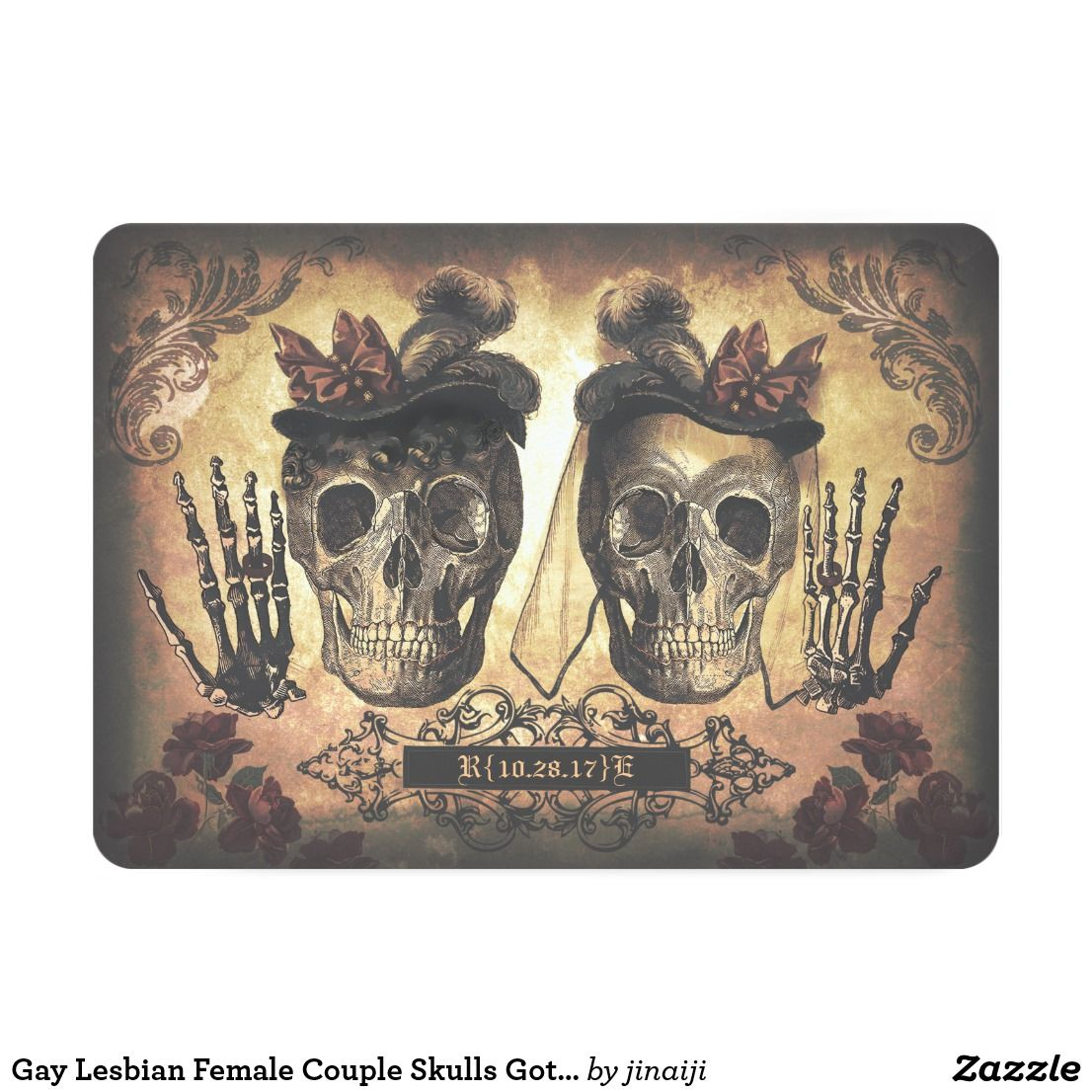Gay Lesbian Female Couple Skulls Gothic Wedding Card Gothic