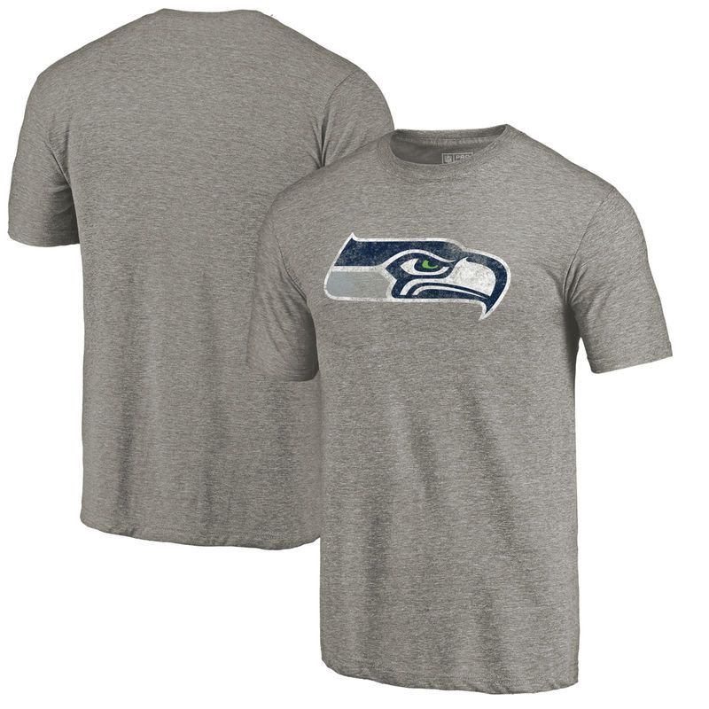 Seattle Seahawks NFL Pro Line by Fanatics Branded Primary Logo Tri-Blend T- Shirt - Gray d9811dfbf