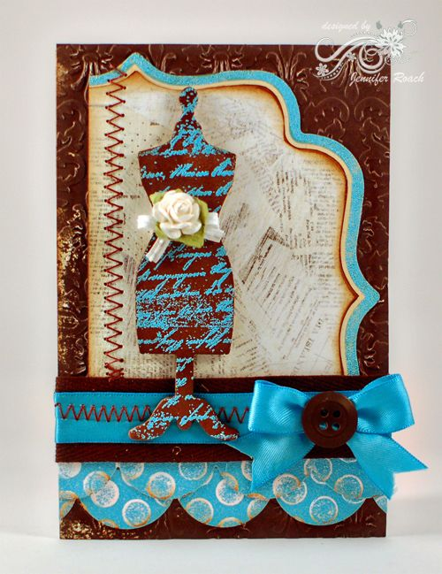 WOW Embossing Powder: Vintage dressform card with a touch of WOW!