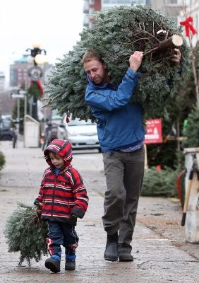 Tree Time Three Year Old Matthew And His Dad Todd Lamont Pick Up A Christmas Tree And Some C Christmas In The City Real Christmas Tree Christmas Tree Farm