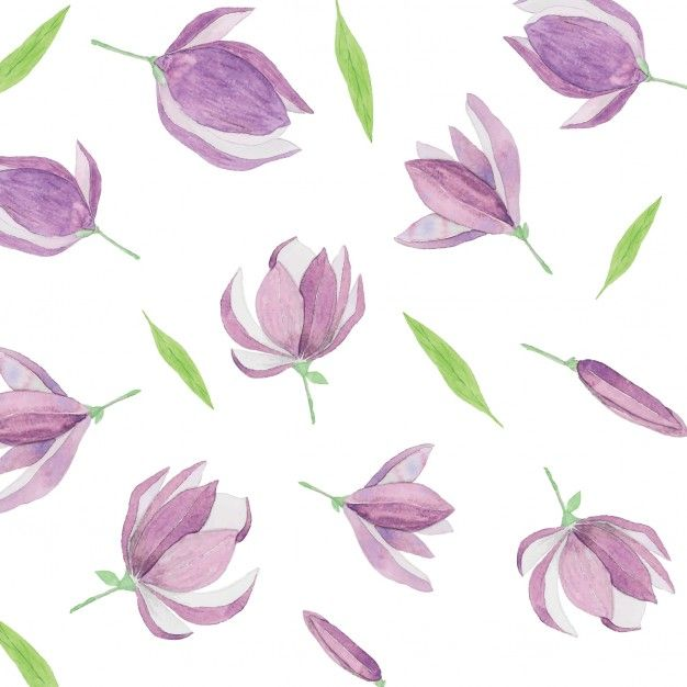 Download Watercolor Pattern With Purple Flowers For Free