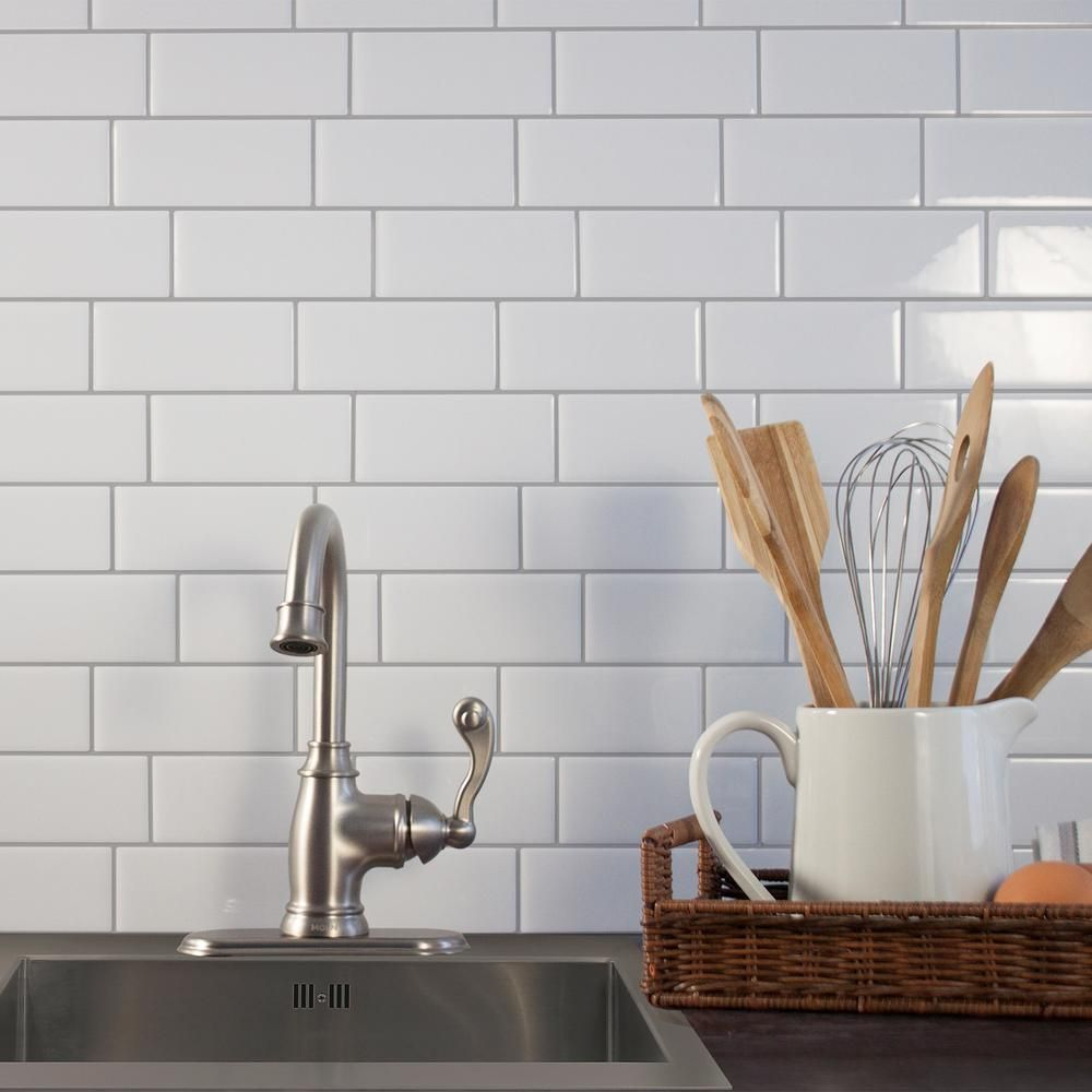 Smart Tiles Metro Campagnola 11 56 In W X 8 38 In H White Peel And Stick Decorative Mosai Smart Tiles Stick Tile Backsplash Kitchen Backsplash Peel And Stick
