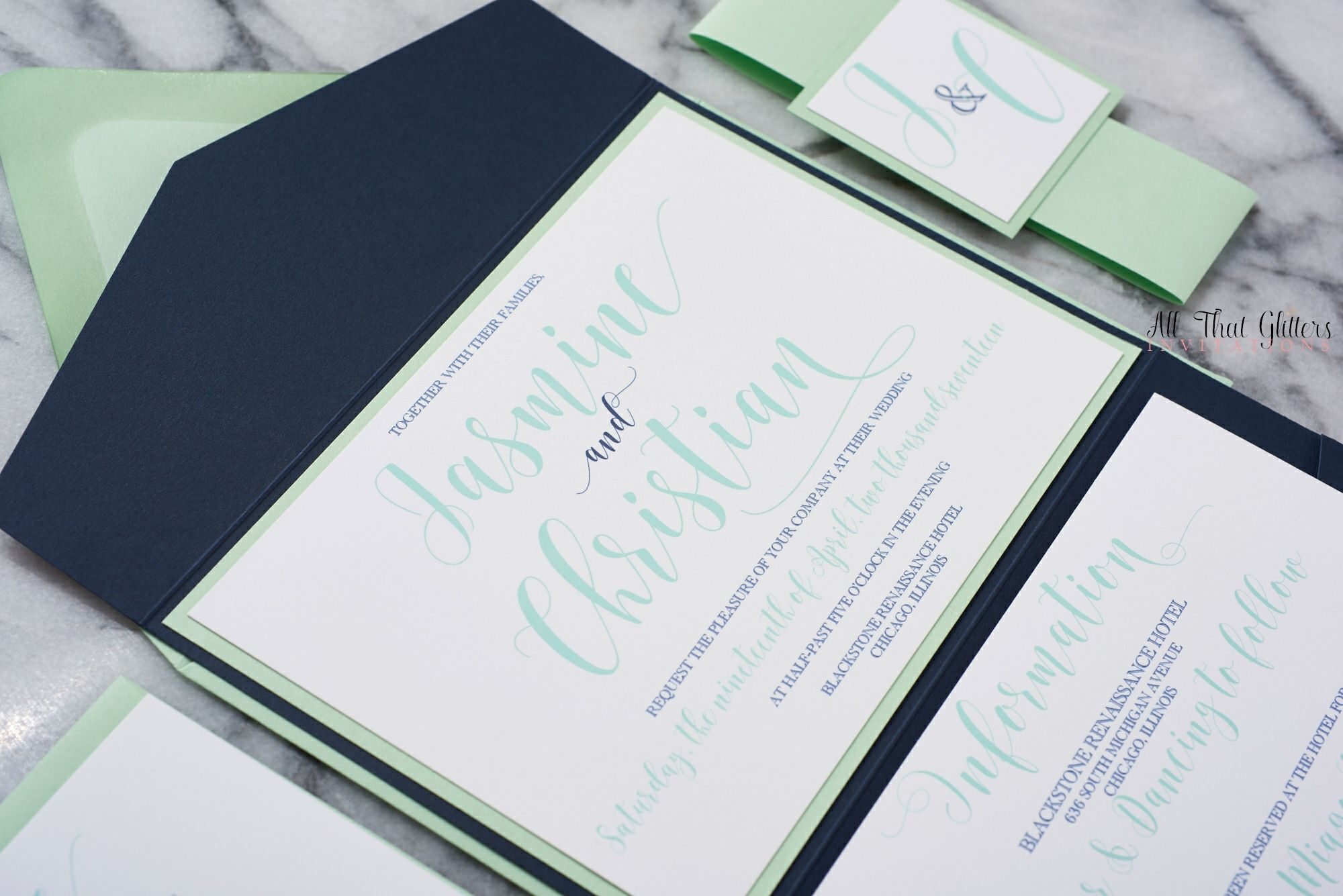 The Jasmine Suite Modern Calligraphy Wedding Invitation Spring