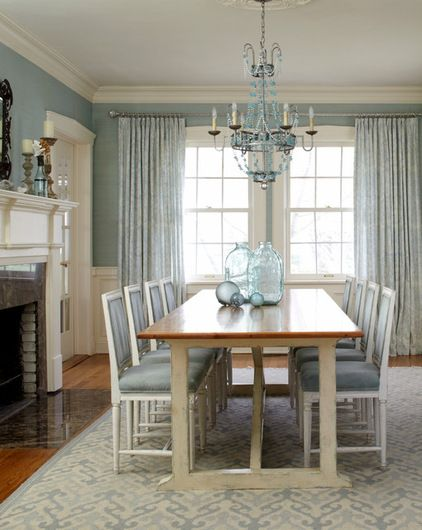 beach style dining room by Jules Duffy Designs -- chairs