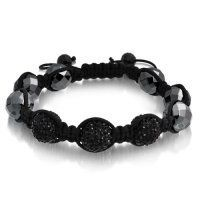 Bling Jewelry Jet Crystal Cyber Shamballa Inspired Bracelet Unisex Hematite 12mm Bling Jewelry. $16.99. Weighs 30 grams. Inspired by Shamballa Jewels. Hematite beads, black crystal. Black and silver bracelet. Adjustable 7 to 9.5in. Save 77%!
