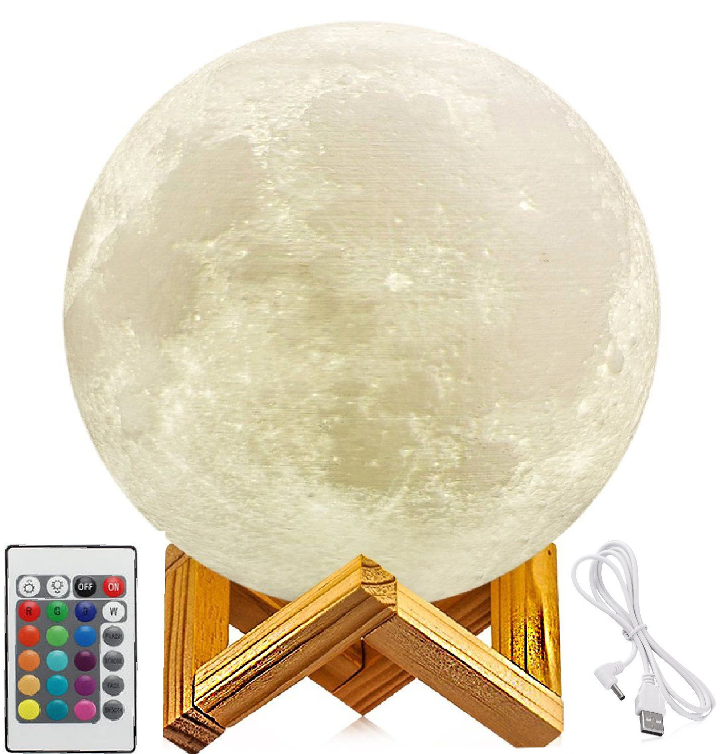 5 9 Inch Full Moon Lamp 3d Moon Lamp 100 3d Printing Led 16 Colors Moon Lamp Touch Remote Control D With Images Best Baby Night Light Moon Light Lamp Night Light Kids
