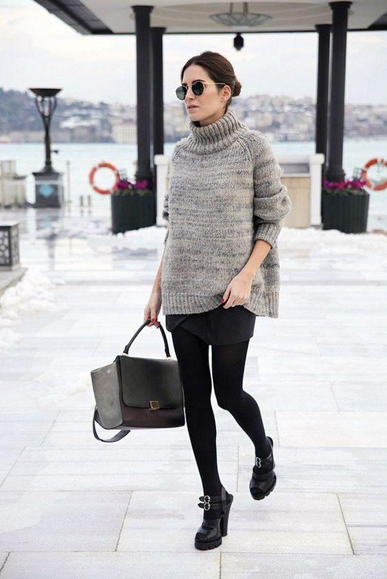online store ed331 7cfaa come abbinare la minigonna | Cable knit sweater nel 2019 ...
