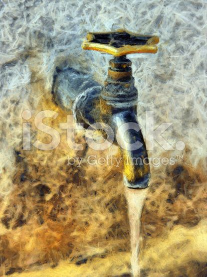 Rusty Outdoors Water Tap Digital Painting With Detailed