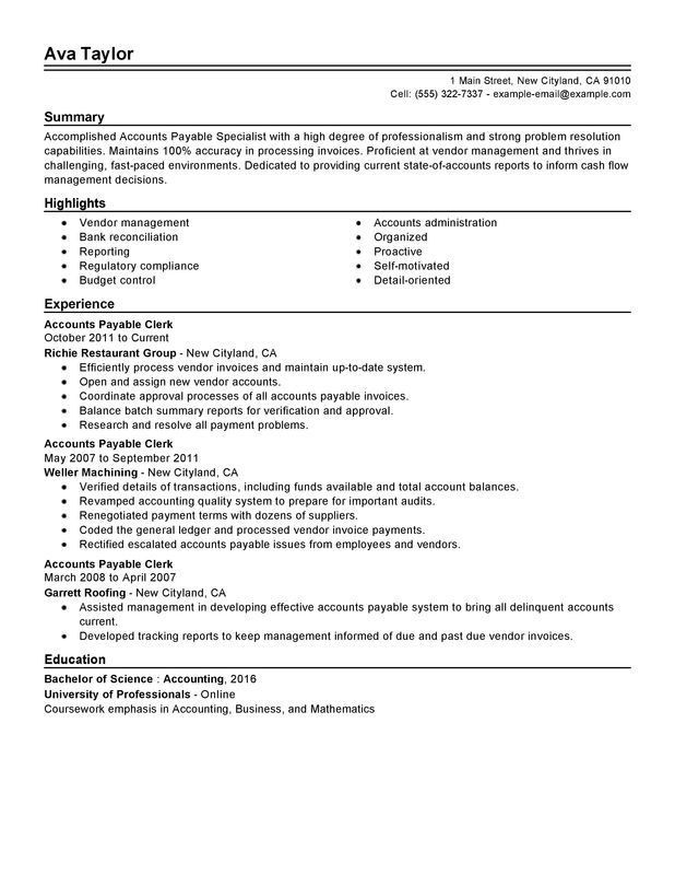 Accounts Payable Specialist Resume Sample Download Pinterest - professional summary for resume examples