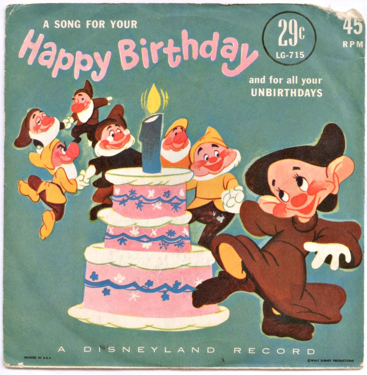 Happy Birthday A Disneyland Record 7 Disney Records Pinterest