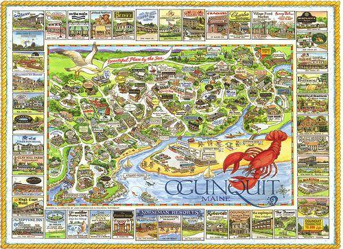 Maine Ogunquit Map Postcard Places I Love Maine Ogunquit Maine