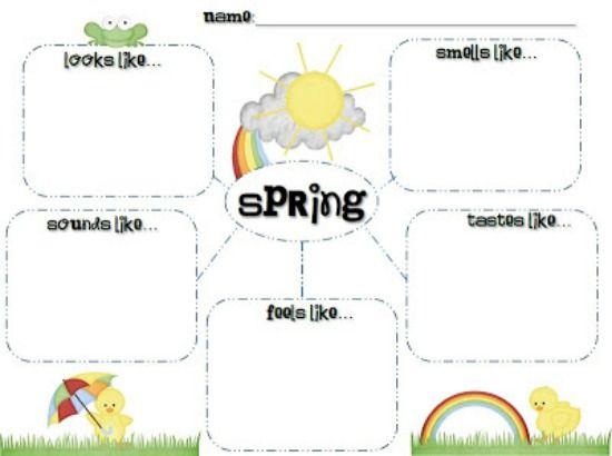 Teach Junkie: 5 Spring Writing Templates {Free Download} - Spring 5 Senses