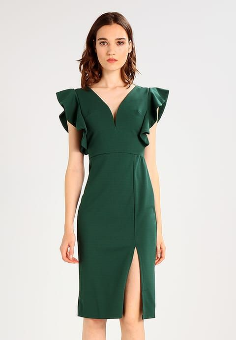 05b3f3e49d3e6b WAL G. V NECK FRILL SLEEVE - Sukienka etui - dark green - Zalando.pl ...