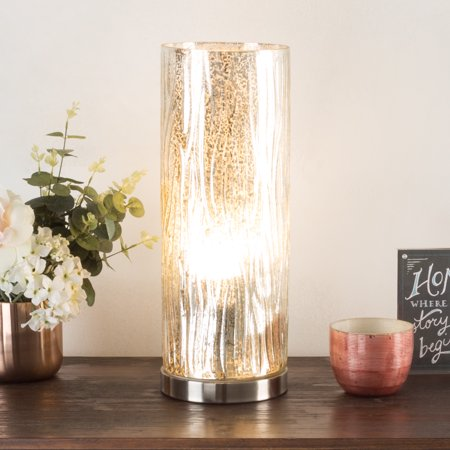 Led Uplight Table Lamp With Silver Mercury Finish Textured Tree Bark Pattern And Included Led Light Bulb For Home Uplighting By Lavish Home Walmart Com Lavish Home Lamp Table Lamp