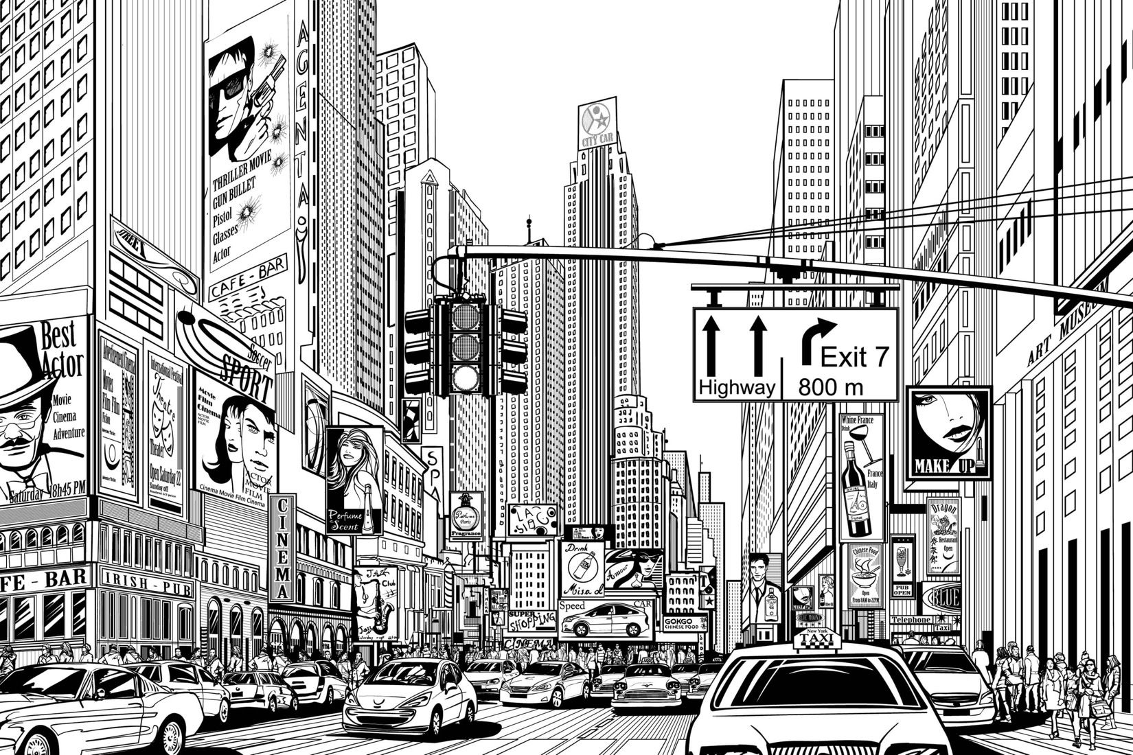 Illustrated Nyc Mural Wallpaper Custom Made To Suit Your Wall Size By The Uk S No 1 For Murals Custom Design Servi City Cartoon New York Wallpaper Nyc Murals