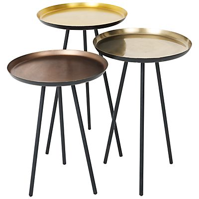 Content by Conran Accents, Round Side Tables with Metallic Top, Set ...