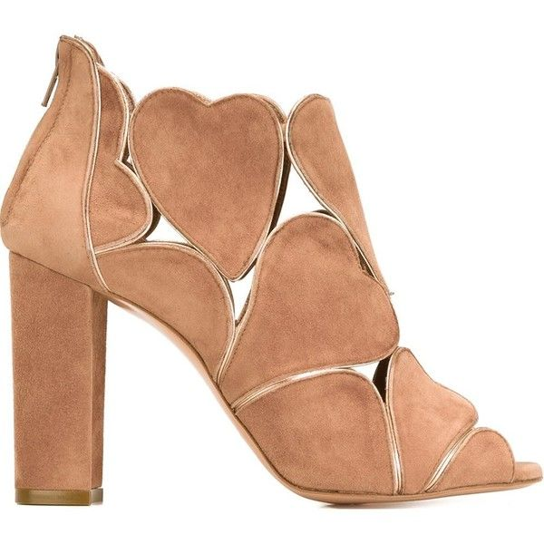 Jean-Michel Cazabat Cut-Out Heart Booties (€530) ❤ liked on Polyvore featuring shoes, boots, ankle booties, jean-michel cazabat, suede boots, suede ankle booties, nude boots and jean-michel cazabat booties