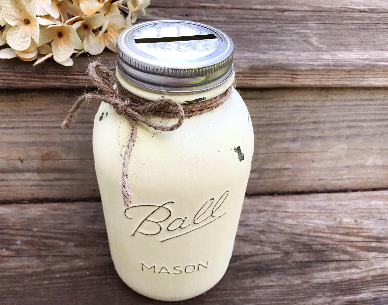 Large Piggy Bank Half Gallon Mason Jar Kitchen Farmhouse