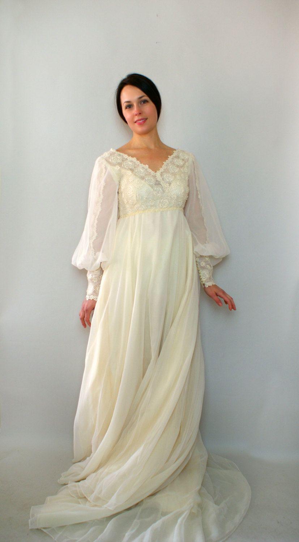 Vintage 1970s Wedding Dress 70s Designer Edyth Vincent Wedding Gown Romantic Juliette Dress 368 0 Wedding Gowns Vintage 1970s Wedding Dress Fantasy Gowns
