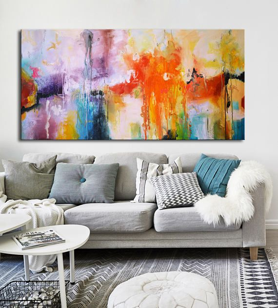 Incroyable Large Abstract Original Colorful Painting, White Red Blue Purple, Rainbow  Painting, Original Painting Office Lobby Decor, Large Canvas Art   Title:  All The ...