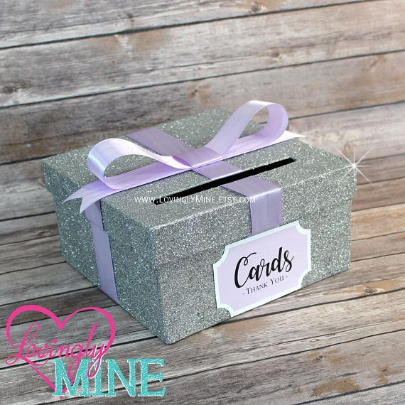 Card Box Glitter Silver Lavender Gift Money For Any