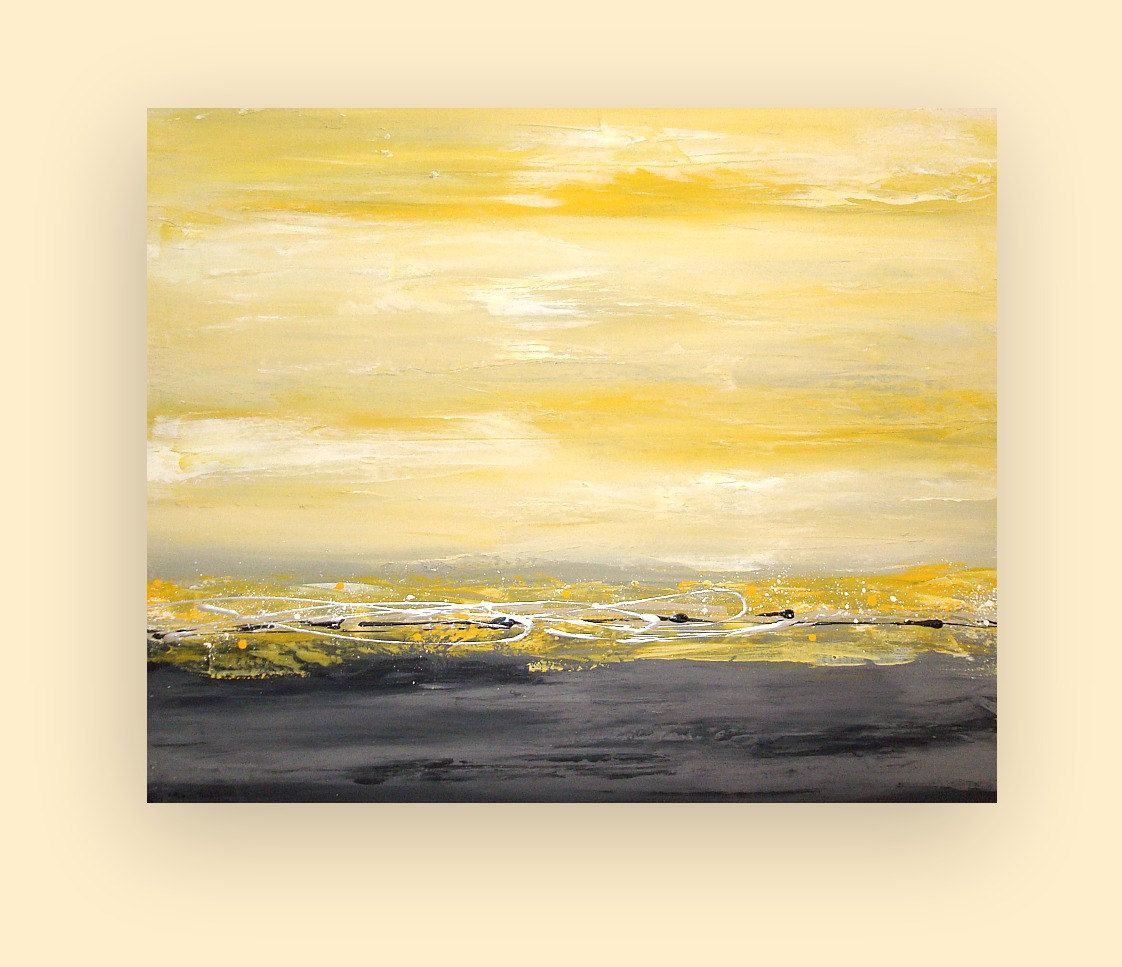 Art Abstract Painting on Gallery Canvas Titled: Morning Mist 30x36x1 ...
