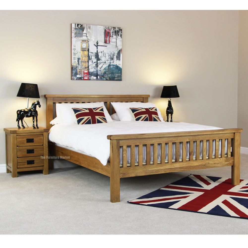 Rustic Solid Oak 5ft King Size Bed, the furniture market