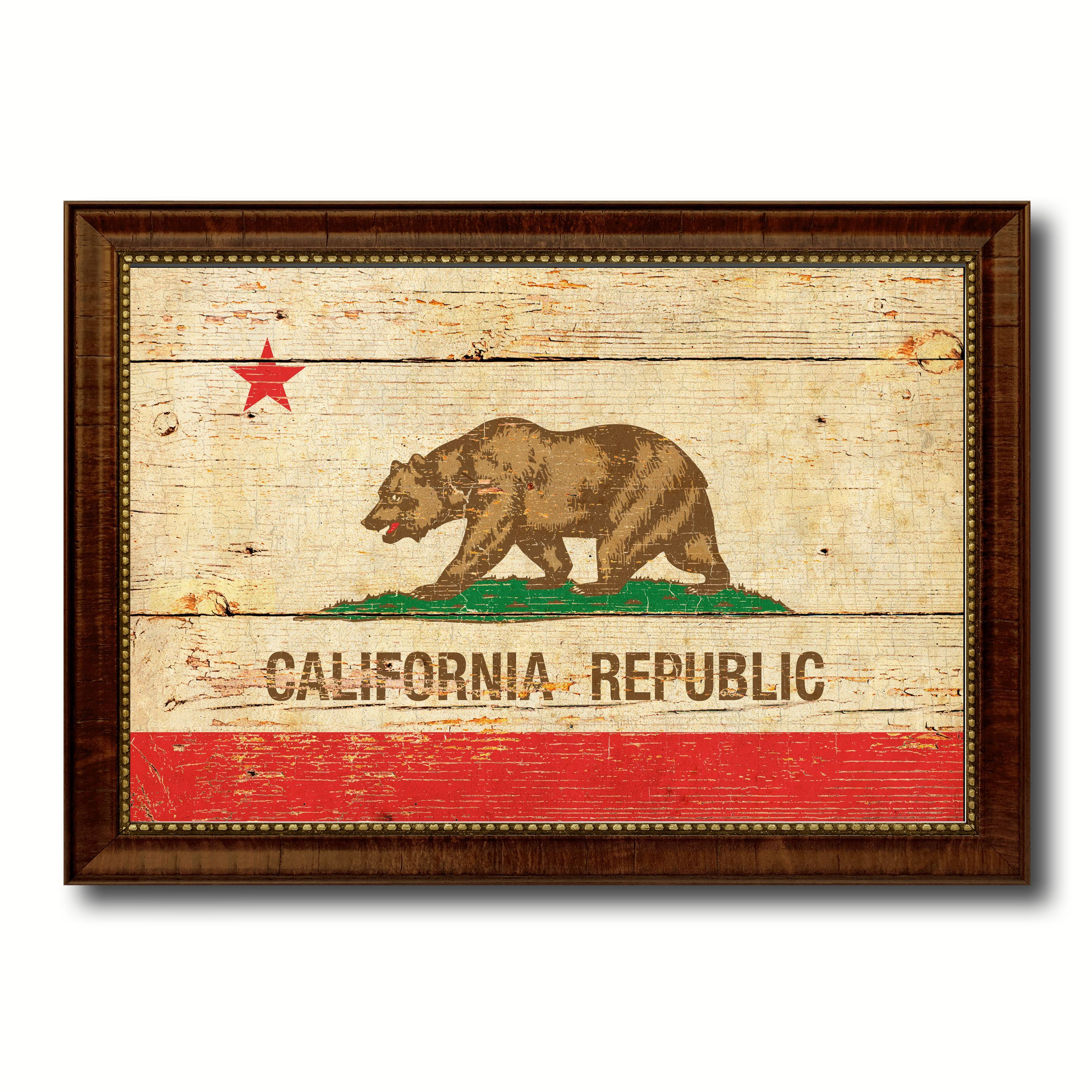 California State Vintage Flag Canvas Print with Brown Picture Frame ...