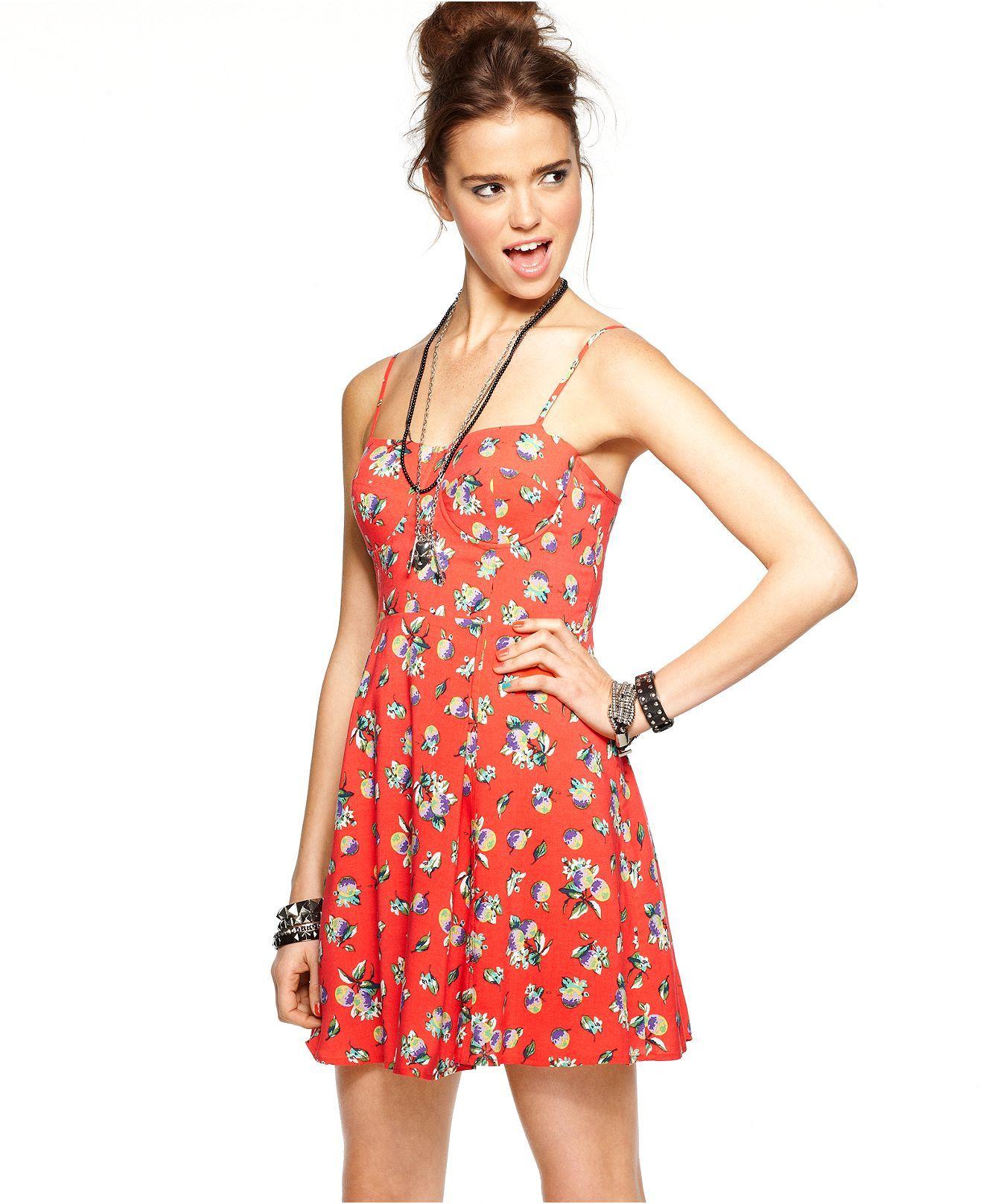 Material Girl Dress Sleeveless Bustier Fruit Print A Line Juniors Shop All Apparel Macy S Material Girls Junior Dresses Dresses [ 1616 x 1320 Pixel ]