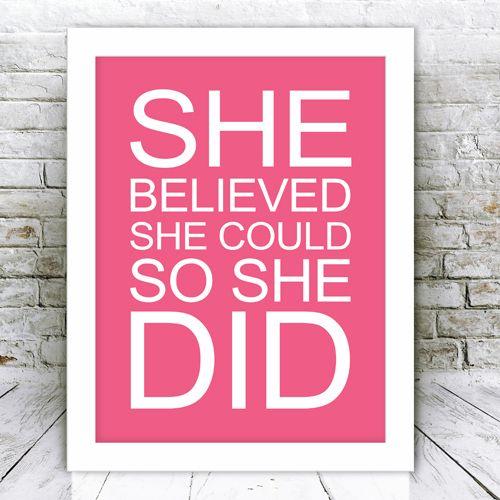 She Believed Framed Word Art Print
