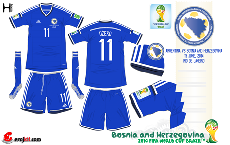 Bosnia & Herzegovina home kit for the 2014 World Cup Finals