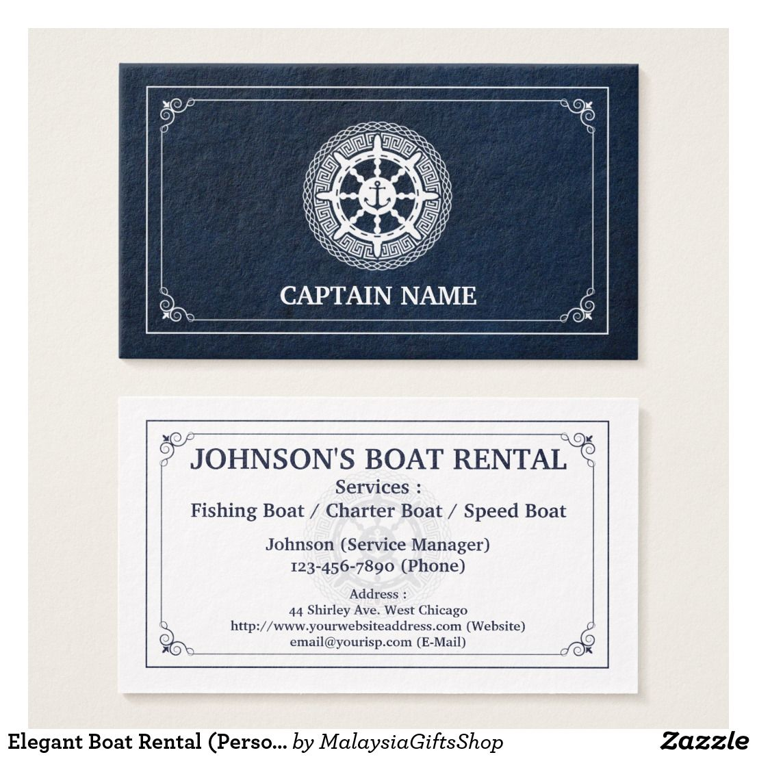Elegant Boat Rental (Personalize) Business Card | Sailor / Boat ...