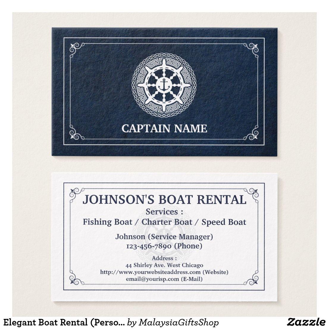 Elegant Boat Rental Personalize Business Card