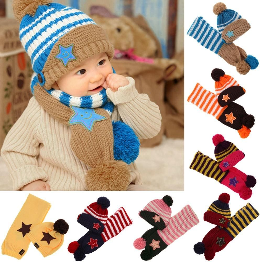 e60c4ca0 Winter Warm Children Caps 2pcs/set Kids 5 Star Printed Scarf Hat Set ...