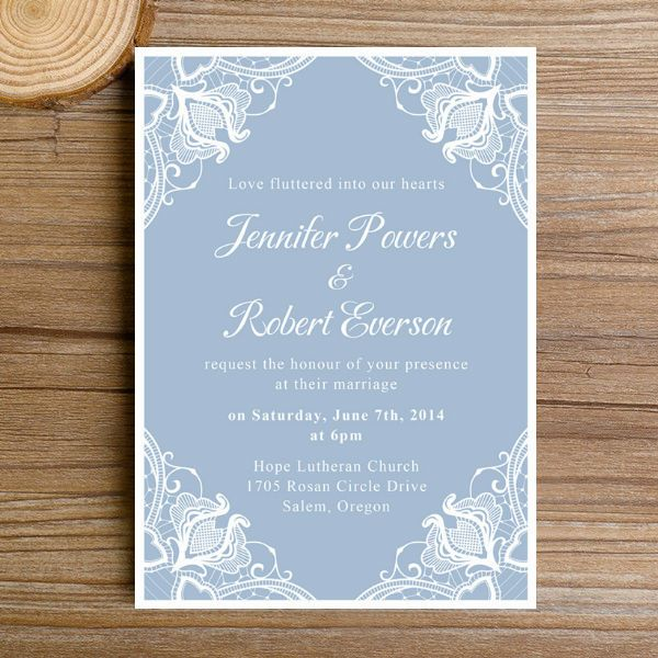 Montreal Wedding Invitations: Dusty Blue Lace Floral Winter Wedding Invitations EWI383