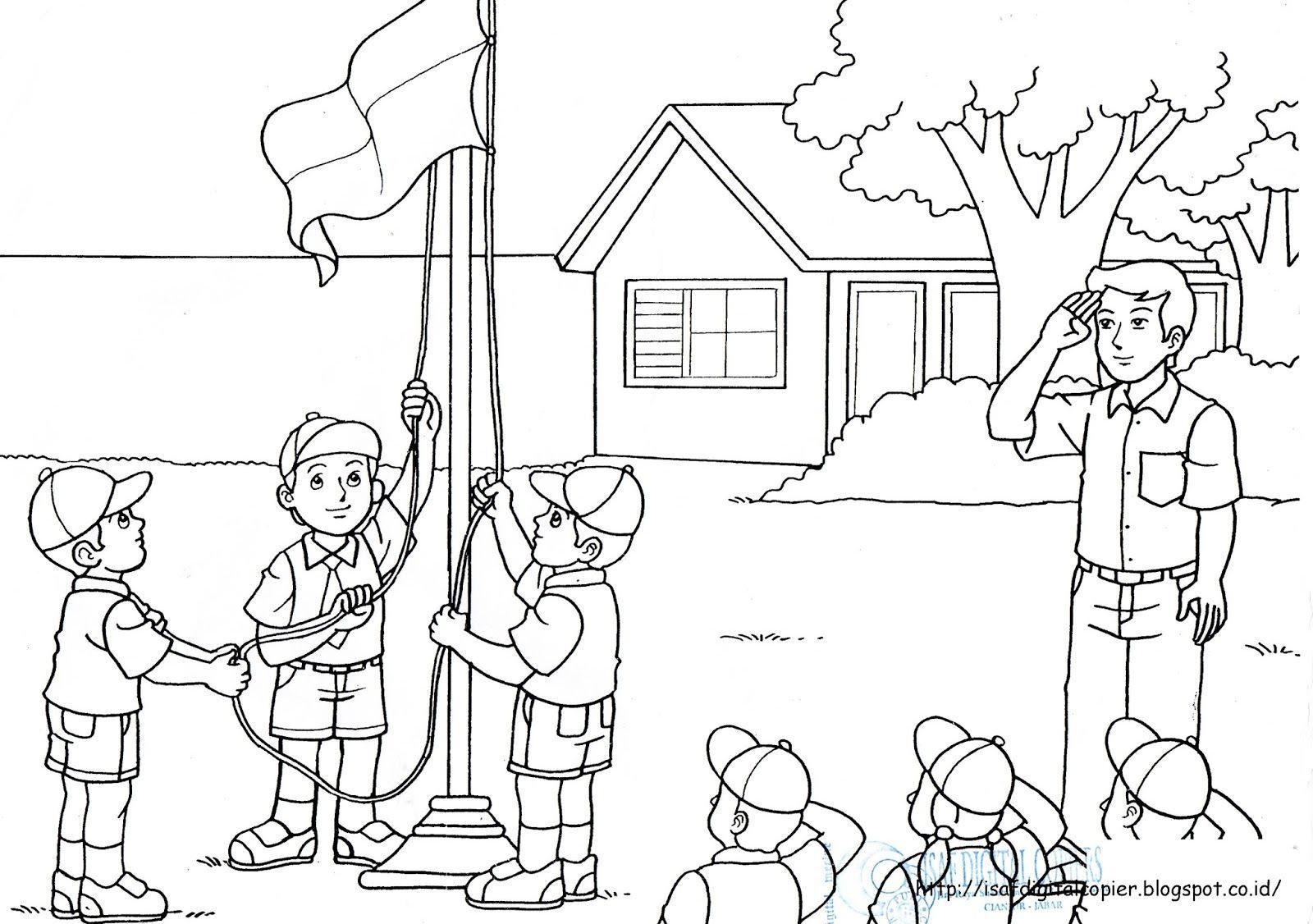 gambar mewarnai anak baru gambar mewarnai upacara bendera di 2020 bendera buku mewarnai warna pinterest