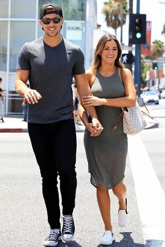 41ca579737c8 JoJo Fletcher wearing Louis Vuitton Neverfull Damier Azur Canvas Bag and  Enza Costa Ribbed Tank Dress