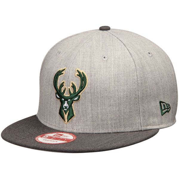 13a88ad7c4a Milwaukee Bucks New Era Action 2-Tone 9FIFTY Adjustable Hat - Heathered Gray  -  27.99