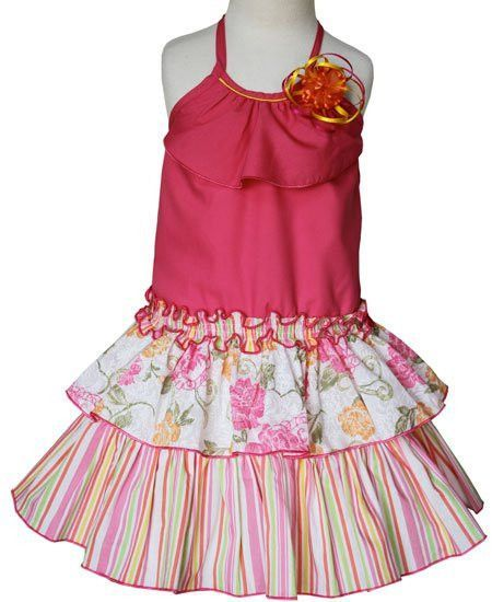4e9c6b59356 Jenny is our Girls Summer Stripped and Floral Dress With Tiered Skirt –  Carousel Wear