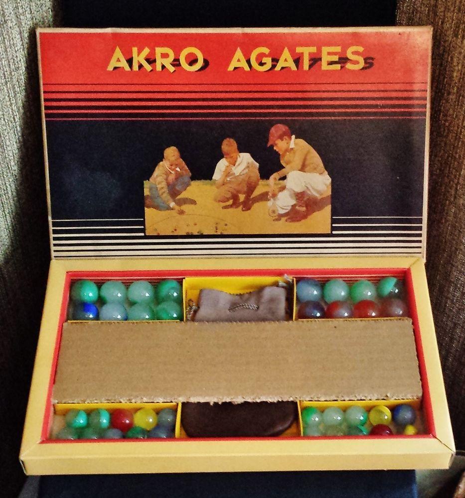 Quot Rare Quot Vintage Akro Agate Marbles Box Set No 300
