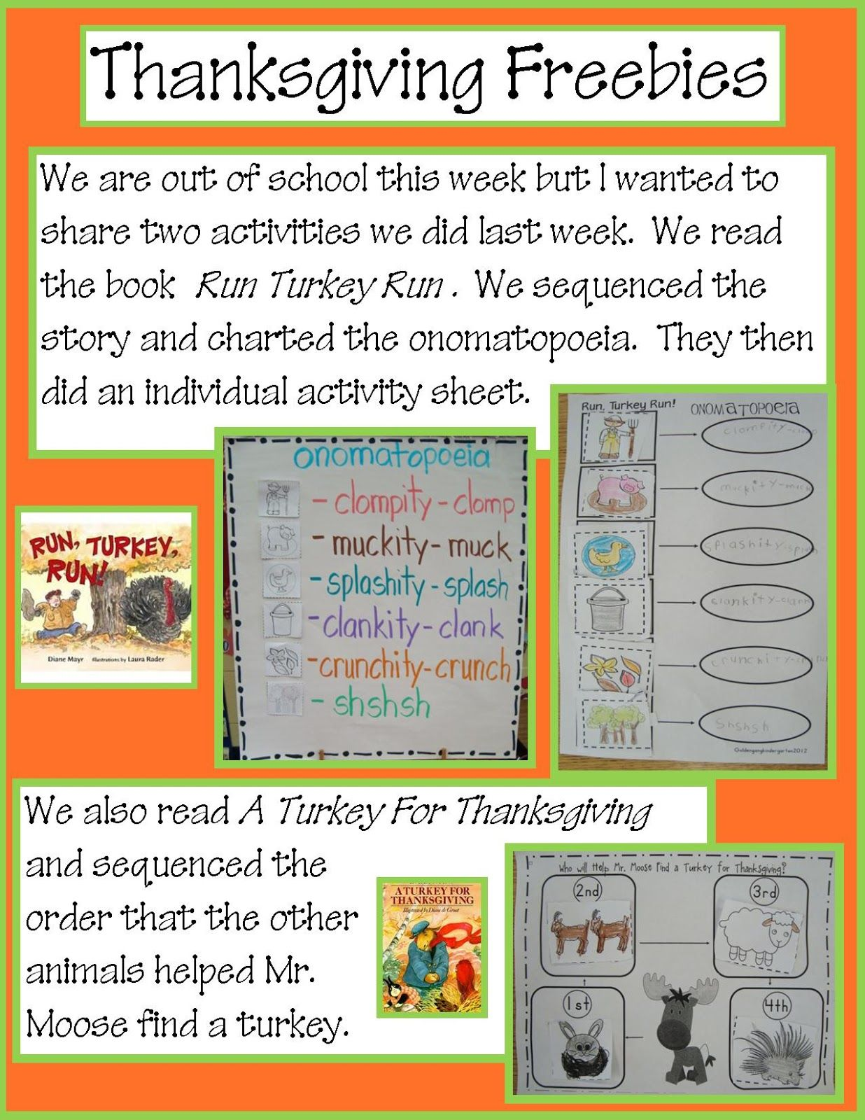 Teaching Onomatopoeia With Book Run Turkey Run From