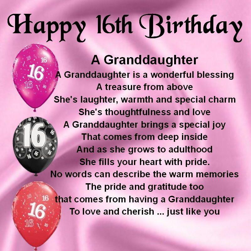 Personalised Coaster Granddaughter Poem 16th Birthday FREE
