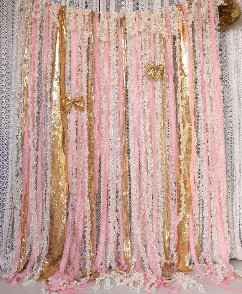 Pink Lace Ruffles Gold Sparkle Sequin Wedding Props Baby Shower