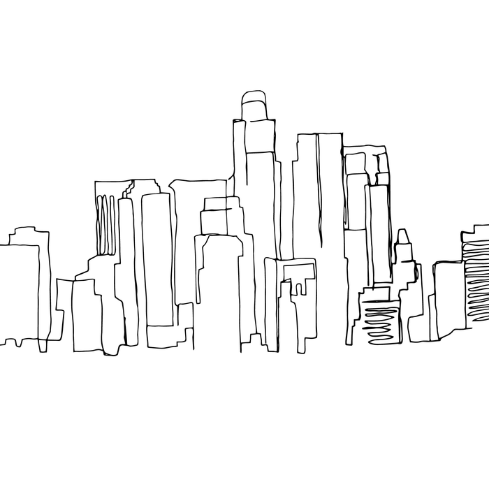 Los Angeles Skyline Drawing Coffee Mug By Emily Desantis 11 Oz Skyline Drawing Los Angeles Skyline Coffee Drawing