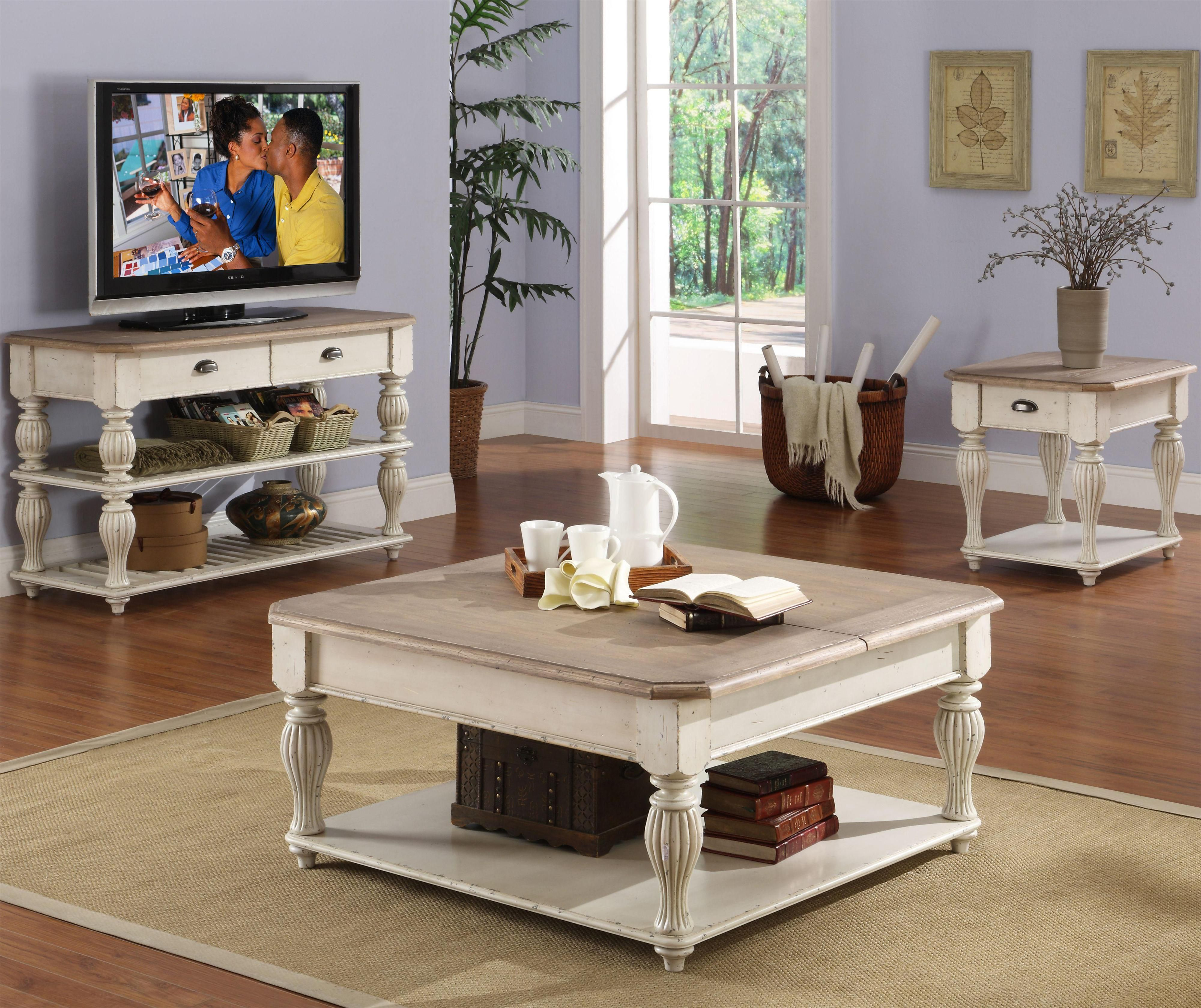 Square Lift Top Coffee Table with Fixed Bottom Shelf