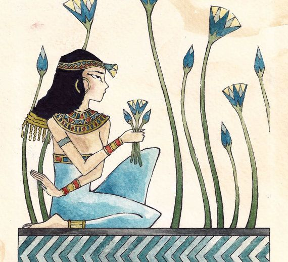 Egyptian Lotus Flower Egyptian Woman Collecting Lotus Flowers By