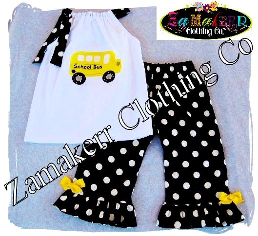 Custom Boutique Clothing Back To School Bus Pillowcase Dress Top Ruffle Pant Outfit Set 3 6 9 12 18 24 month size 2 3 4 5 6 7 8