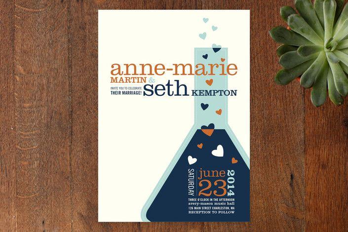 Chemistry Wedding Invitations by Mandy Rider at minted Wedding - fresh invitation wording reception