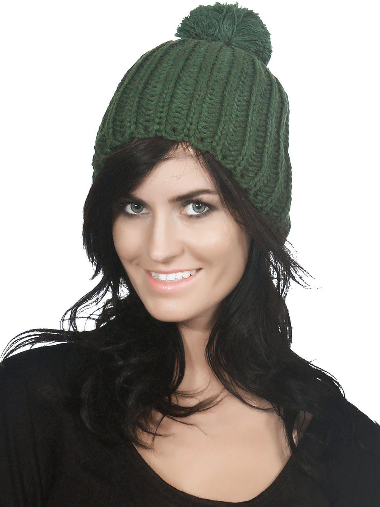 b318b8bf738 Women s Thick Knit Slouchy Pom Pom Beanie Winter Ski Hat