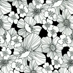 Full Bloom print cotton fabric - yardage - Michael Miller #2838 black and white floral drawings on black background by bagsandmore on Etsy https://www.etsy.com/listing/244703086/full-bloom-print-cotton-fabric-yardage